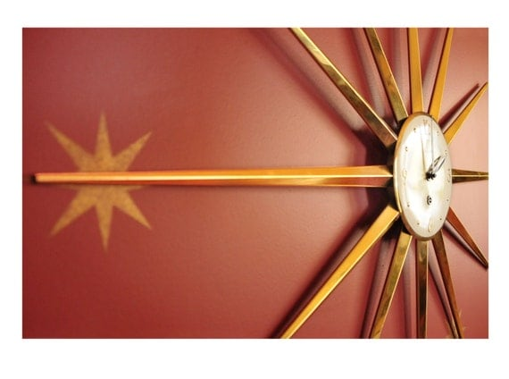 "Sunburst Clock, 36"", Metal, enamel, Key wind, Forestville, a real showstopper, spectacular vintage beauty, comes with the key"