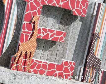 Custom Nursery Wooden Letters, Baby Nursery - Giraffe Theme Custom Letters, 7 Inch Size