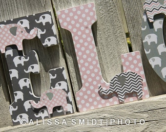 Elephant Nursery Letters, Custom Wooden Letters, Custom Letters, Baby Girl (pink and grey, gray, elephant, jungle) 9 Inch Hanging Letters