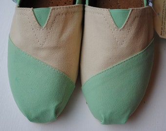 Custom Hand Painted TOMS in Mint and Cream