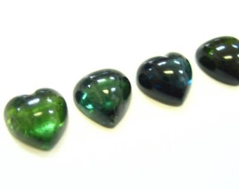 Suite of Heart Shape Green Tourmaline Cabochons 10x10 mm, Forest Green, Blue Green, blue gemstone,ndicolite, Dark Green
