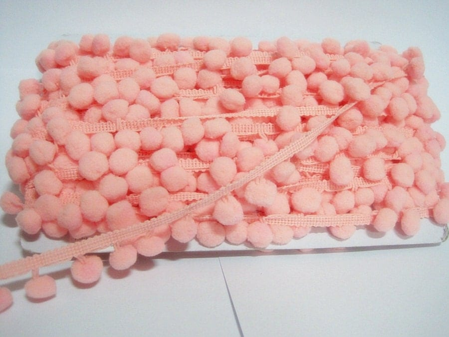 Pink Pom Pom Trim, Pink Trim, Peach pink trim, Pink pom pom trim, Trim ...