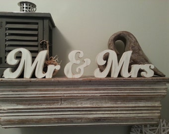 Free-standing Wedding Letters - Mr & Mrs - New Funky Font - 10cm, Hand-painted