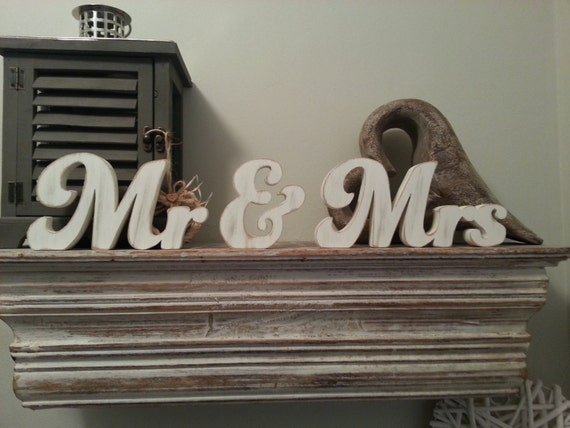 Wooden Wedding Letters Mr & Mrs New Funky Font Various