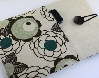 "Laptop Case, 13"" MacBook Case, 13"" MacBook Air Case, 13"" MacBook Pro Case, PADDED, with 2 pockets - Blossoms on linen"