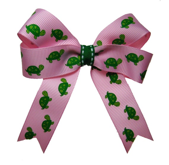 Pink and Green Turtle  Hair Bow
