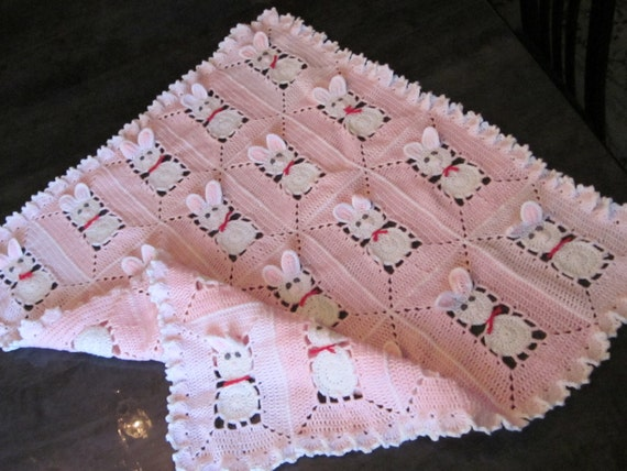 Crochet Pink Baby Blanket with bunny rabbits for by MagicalStrings