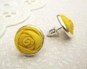 Yellow Earrings in Pineapple - Fabric Flower Silver Stud Earrings