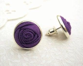Amethyst Purple Earrings - Fabric Rose Bud Earrings - Simple Stud Earrings for Brides and Bridesmaids