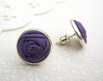 Crocus Flower Earrings - Purple Fabric Rose Silver Stud Earrings - Simple and Sweet