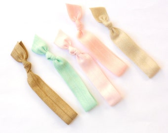 Shabby Chic - 5 Comfort Elastic Hair Ties / Bands / Bracelets
