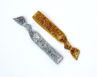 Luxe Set - 1 Gold Sparkle and 1 Silver Sparkle Elastic Hair Tie - Limited Edition