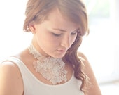 Lace necklace / Bridal accessory / Special occasions/ Lace pieces / White beads