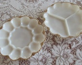 SALE- Anchor Hocking Fire-King MILK GLASS  gold trimmed Scalloped Edge / deviled egg plate and a divided relish dish.