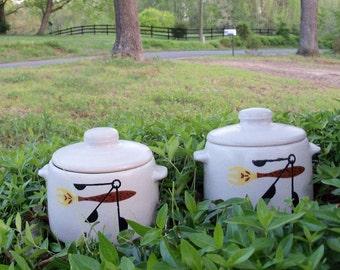 Vintage Pottery West Bend Casserole Crocks With Lids 1951 Pair Mid Century Serving Storage by AntiquesandVaria