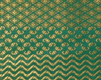 Fat quarter  Indian silk brocade fabric in beautiful green and gold