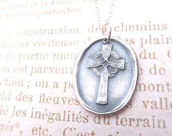 Easter Celtic Irish cross wax seal necklace outlander hand stamped from reclaimed fine silver for Valentine's day
