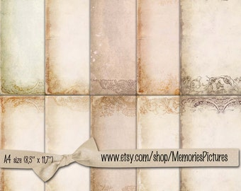 Digital papers. Printable beige old paper, background papers , 10   scrapbook , commercial use,  Digital Collage Sheets   Download Tp 61