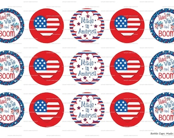 "15 Made in America 1 Images Digital Download for 1"" Bottle Caps (4x6)"
