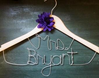 Custom Wire Bride Hanger for Wedding Dress, Personalized Name 2 line Mrs Wood Hanger, Flower, Photo Prop, Bridal Shower or Bachelorette Gift