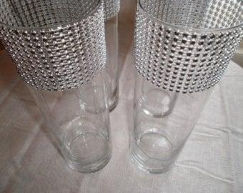 "Set of (15)  10 1/2"" Tall Cylinders, Wedding Centerpiece Vases, Rhinestone Vase"