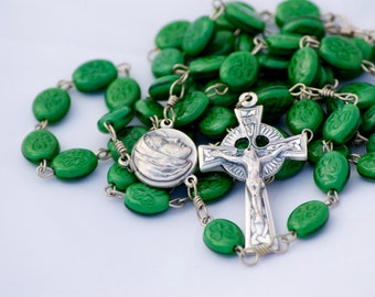 Green Shamrock Bead Handmade Catholic Rosary with Celtic Crucifix