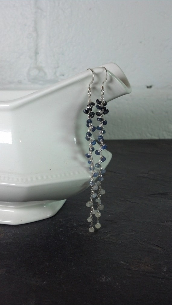 Long  Ombre Sterling Silver and Sapphire Earrings