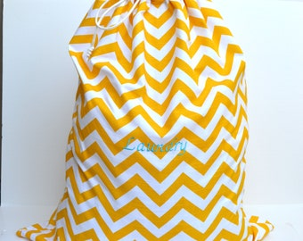 Large  Yellow Chevron  Laundry Bag Tote College Dorm Summer Camp Duffle Bag with Shoulder Strap Monogrammed