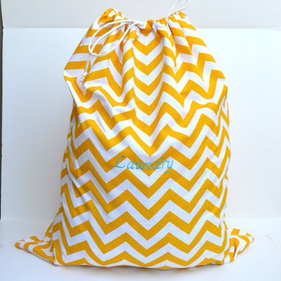 Items Similar To Large Yellow Chevron Laundry Bag Tote