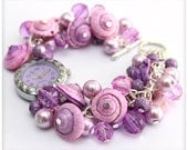 Chunky Beaded VIOLET Cluster Wrist watch