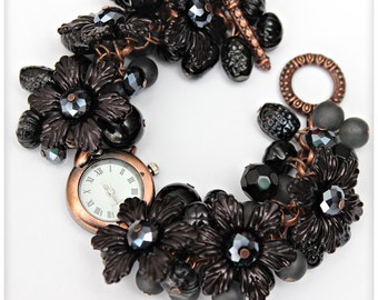 Chunky Beaded BLACK and copper Cluster Wrist watch with flowers