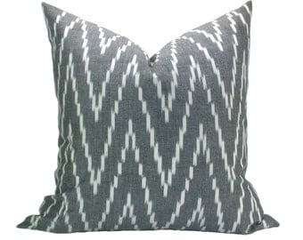 Kasari Ikat pillow cover in Graphite
