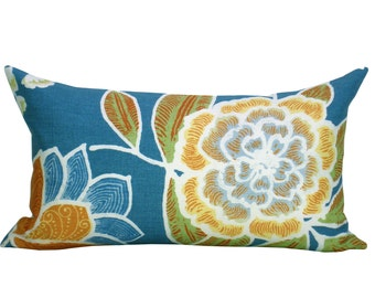 Sulu lumbar pillow cover in Teal