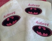 3 Piece Batman with a Bow Applique Embroidered Bath Towel Set or Batgirl