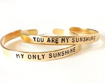 mom, inspirational bracelets - you are my sunshine my only sunshine, friendship, custom stamped bracelet, mother of the bride gift, wedding