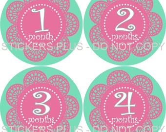 Baby Month Stickers Plus FREE Gift Girl Monthly Milestone Stickers Pink Turquoise Flower Lace Monthly Milestone Markers Stickers Photo Prop