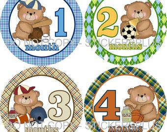 Monthly Baby Boy Milestone Stickers Baby Month Stickers Sports Bear Blue Green Shower Gift Baby PRECUT Bodysuit Stickers Nursery Decor