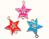 SALE Color and Rhinestone Sideways Star Connector Bracelet Charms and Necklace Pendant