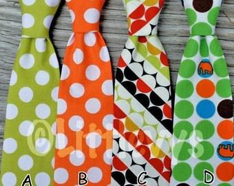 Boys Neck Tie -- Lime Neck Tie -- Orange Tie -- Elephant Neck Tie -- Birthday Tie