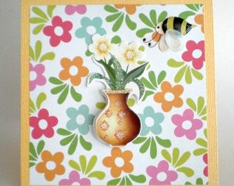 Birthday Card - Glitter Flower Vase
