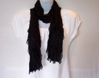 Black Semi-Sheer Ruffle Scarf
