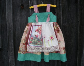 Girls apron knot dress, fairy dress, teal rose beige,  available to order 1T,2T,3T,4T,5T