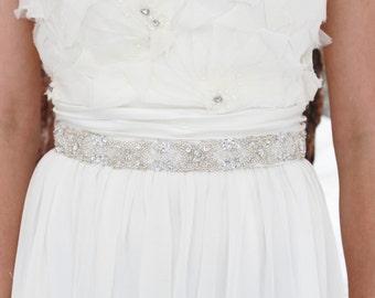 ALICE sash - Silver/Clear Beaded Bridal Wedding Sash, Bridal Belt