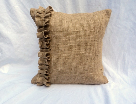 Choose Your Size Burlap Pillow Covers with Ruffles