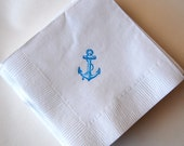 Nautical Anchor Beverage Napkins / Set of 50 / Nautical Baby Shower or Wedding