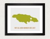 Jamaica Art Print Travel Map Modern Typography Poster SALE buy 2 get 3