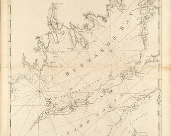 1781 Nautical Chart of Buzzard's Bay
