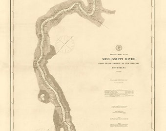 1884 Nautical Chart of The Mississippi River