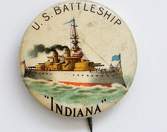 Antique US Battleship Pin Spanish American War Indiana