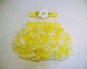 READY TO SHIP - 0 to 3 Month Size - Yellow Varigated Ballerina Ruffled Skirt and Headband - Photo Prop